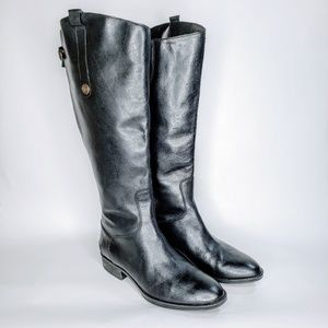 NWOB Sam Edelman Black Leather Tall Zipper Boots